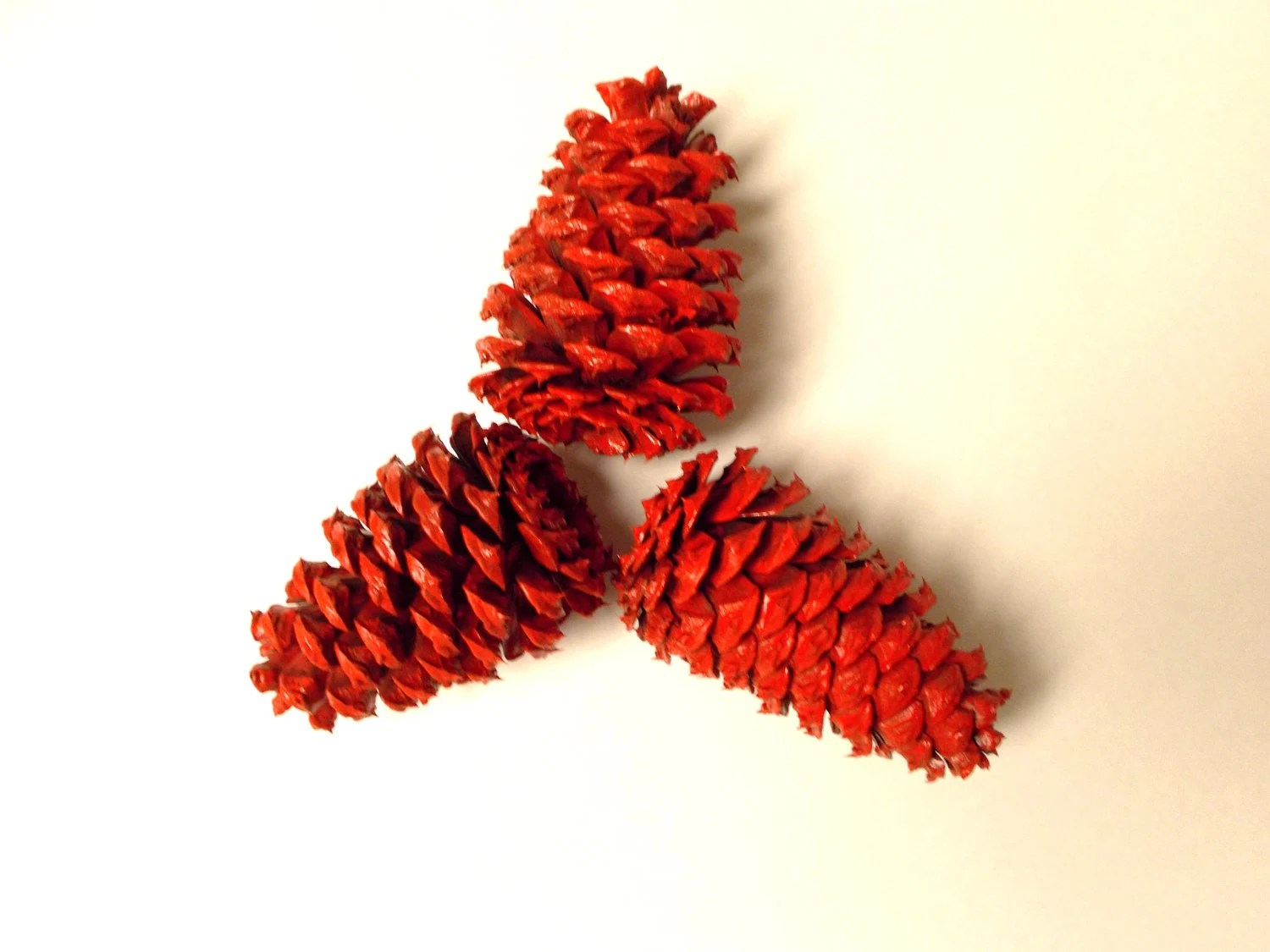 3 Colorful Painted Pinecones - Christmas Red - vanishingpts