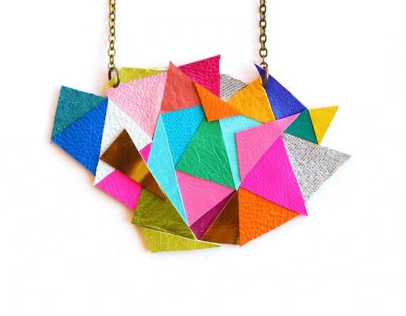 Geometric Bib Necklace, Neon Color Block Kaleidoscope, Triangle Leather Necklace