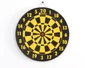 vintage yellow and black dart board - lacklusterco