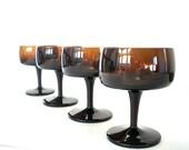 Vintage Champagne Glasses,Tall sherbet Glass, Vintage coffee brown Stemware, Toasting Glass - vintagebiffann