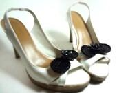 Black Sequin Bow Shoe Clips - MegansBeadedDesigns