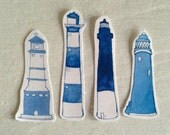 Four Lighthouses Sticker Pack, in Blue - PamelaBaronDesigns