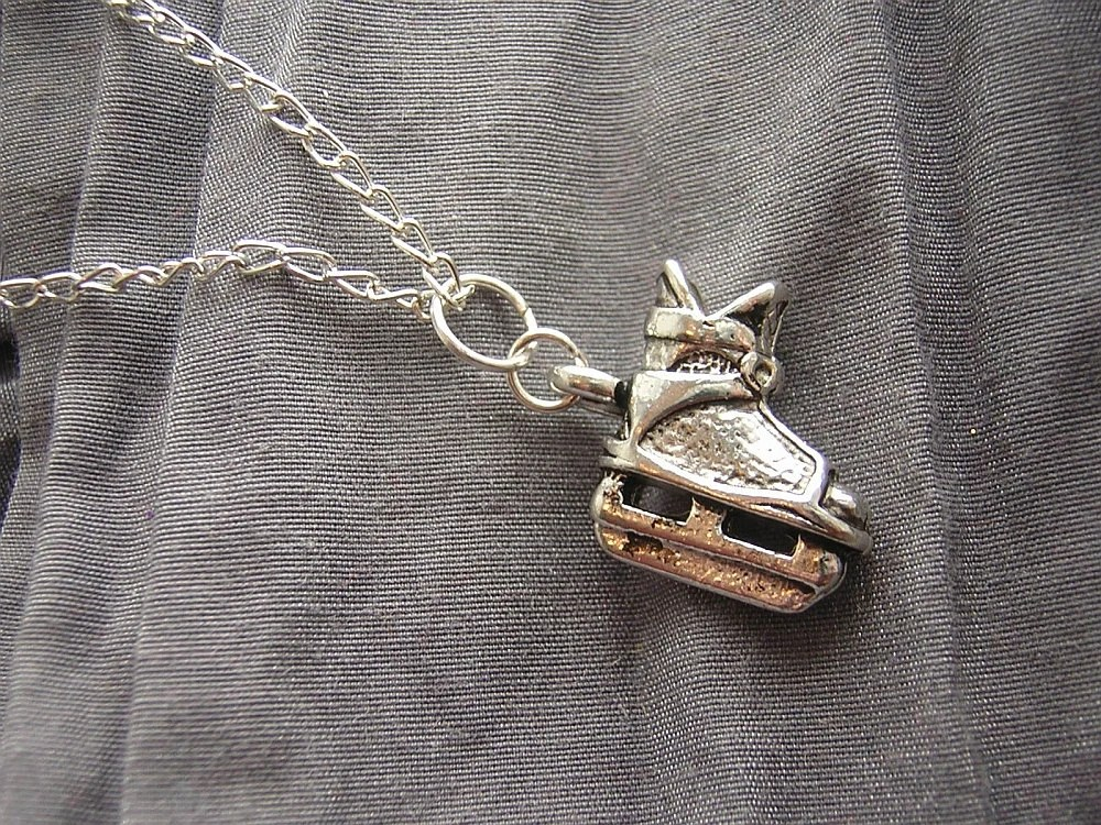 Hockey Skate Simple Charm Necklace - Your Choice of Black Cord or Silver Chain - Handmade by Rewondered D225N-25101 - $7.95