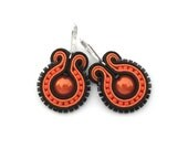 Neon Orange Soutache Earrings, Pumpkin Halloween - mintESSENCE
