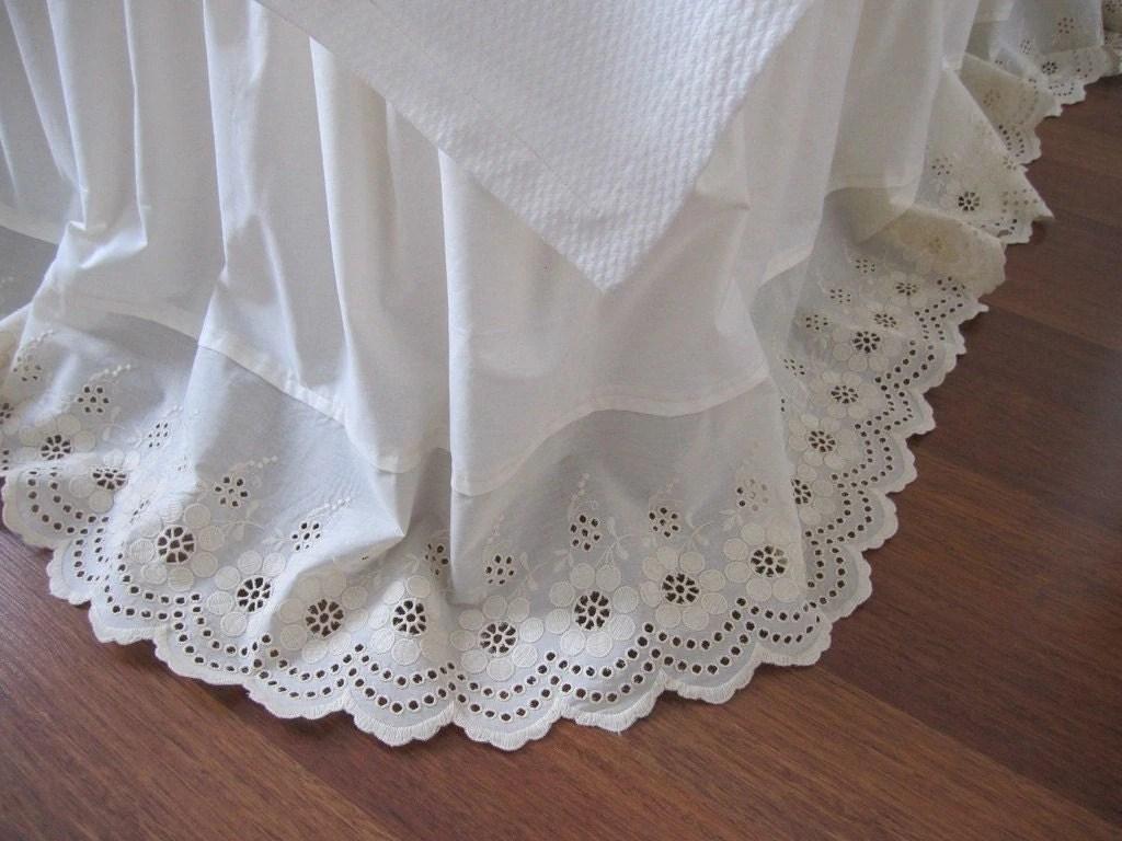 Cream Ivory Eyelet Cotton Dust Ruffle Bedskirt By Nurdanceyiz