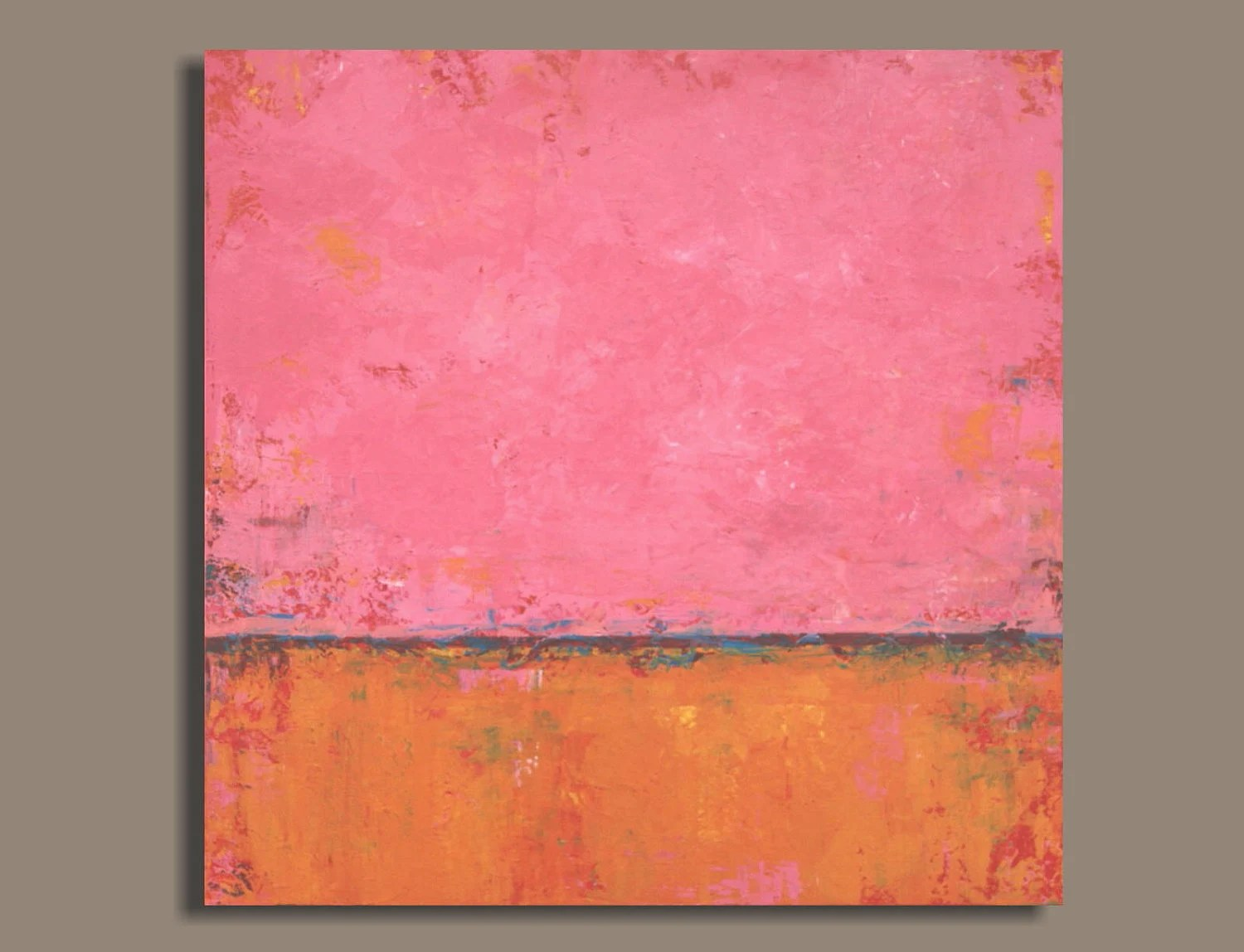 Huge Hot Pink And Orange Abstract Painting 30x30 Original