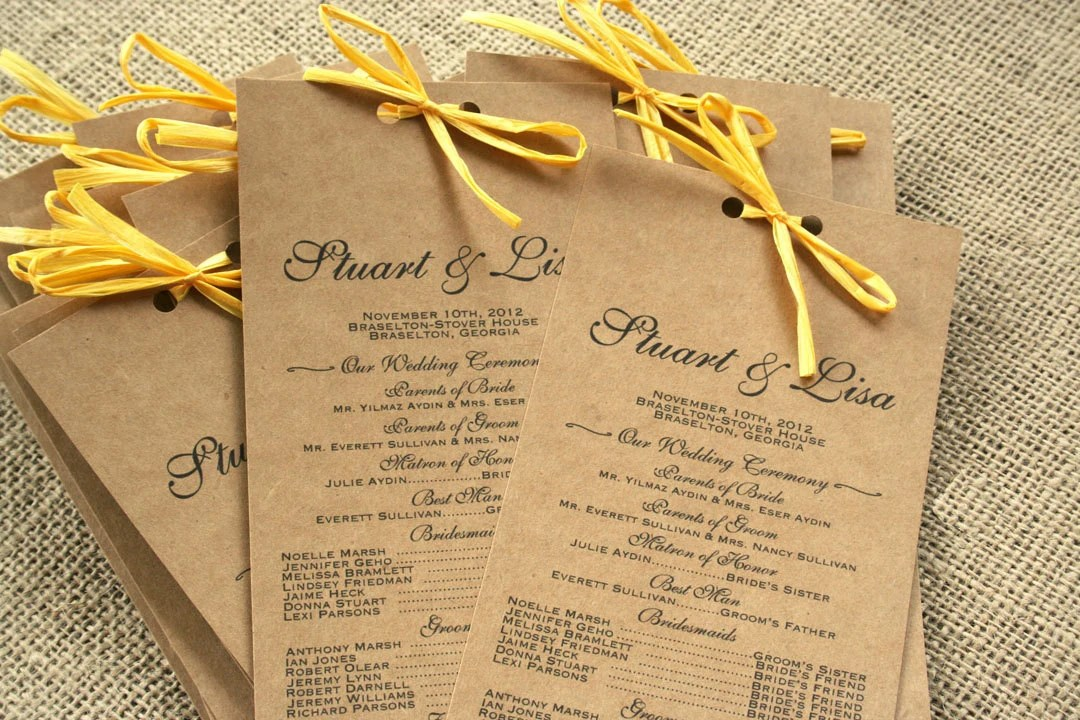 Long Rustic Wedding Program Recycled Paper Elegant Modern