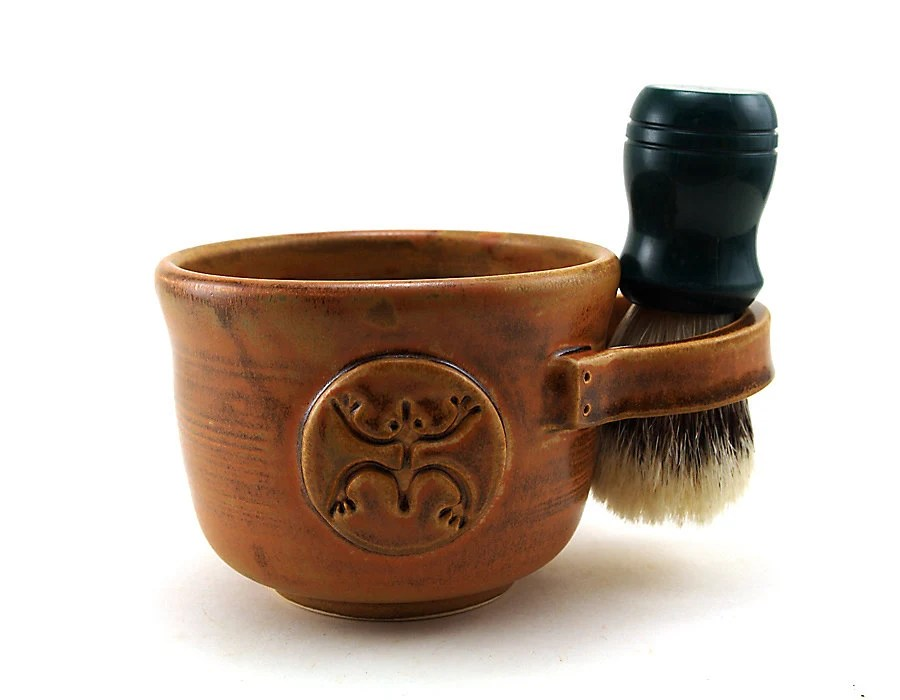 Brown Shaving Mug with a Coqui or Tree Frog, Ceramic Shave Mug for Men, Shaving Bowl, Shave Cup, Gift for Guys by MiriHardyPottery - MiriHardyPottery