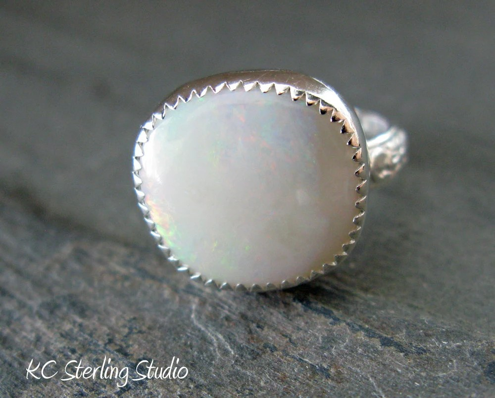 White Australian opal sterling silver metalsmithed ring - kcsterlingstudio