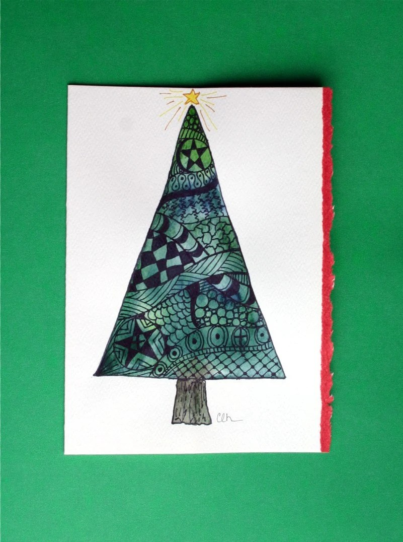 Zentangle Art Watercolor Card Christmas Tree 5x7 Original