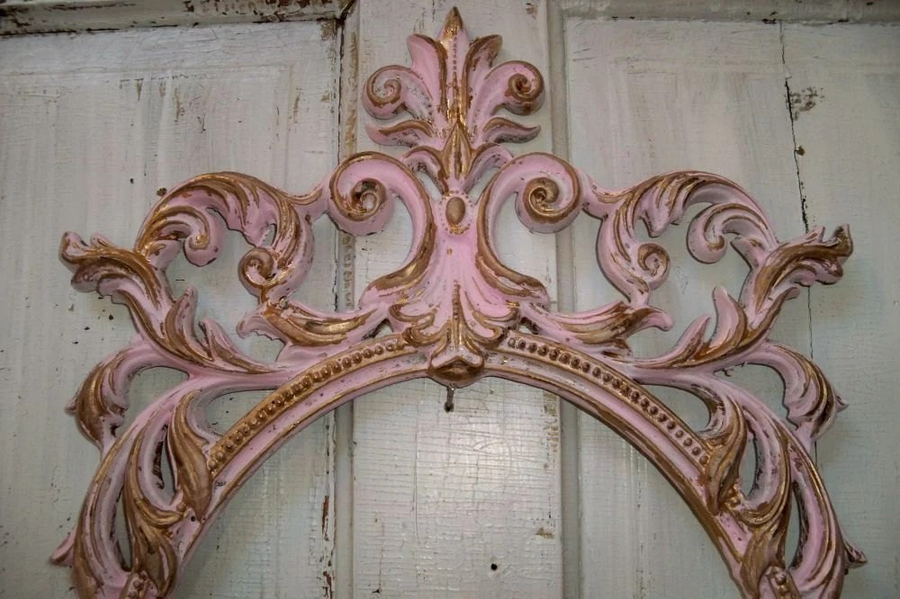 Large Ornate Frame French Pink And Gold Shabby Chic Distressed