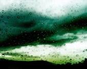 Rain Art, Emerald Green, Yellow White, Landscape Photography, Blue Abstract, Rain Print, Dramatic, Raindrops, Dark, Nature Art, 8x12 - AgaFarrell
