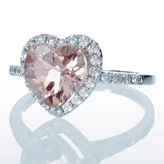 Morganite Ring Heart Shape Cut Dainty Morganite Diamond Heart
