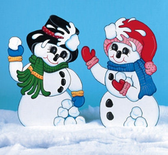 Christmas Outdoor Snowmen Having Snowball Fight Wood By