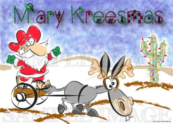 Items Similar To Funny Christmas Card Mexican Santa