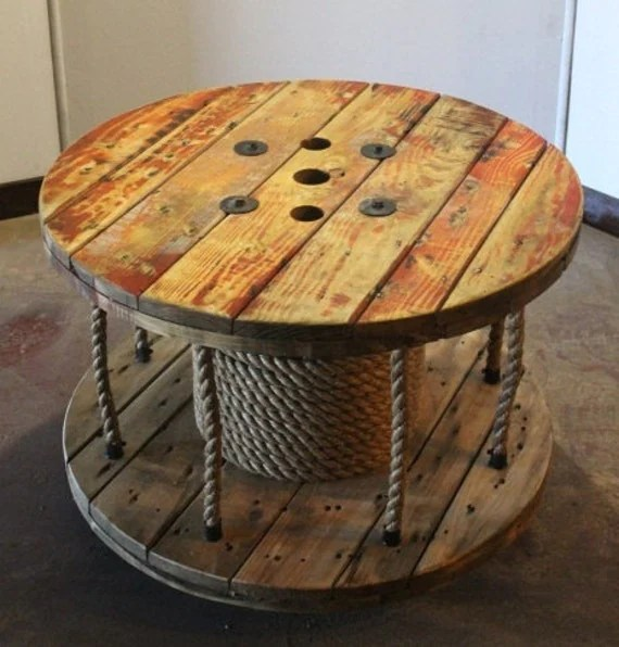 Up-cycled Cable Spool Coffee Table // Library // Storage by AaCcBb