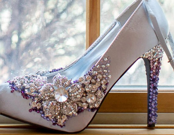 "CHRISTMAS SALE: Combo Custom ""Cinderella"" Swarovski Rhinestone Shoes plus bonus Custom Embellished ""Royal Wedding"" Headband - AMRDreamCreations"