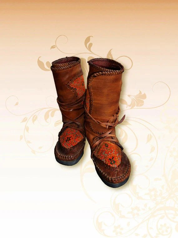 Beautiful Unique Hill tribe Leather Moccasins