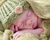 Newborn Hat Green Leaf