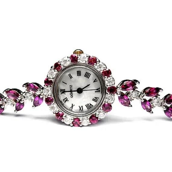 100% Natural Africa Purplish Pink Rhodolite Garnet Marquise & Round Cut Genuine Solid 925 Sterling Silver Watch - siammadedesign