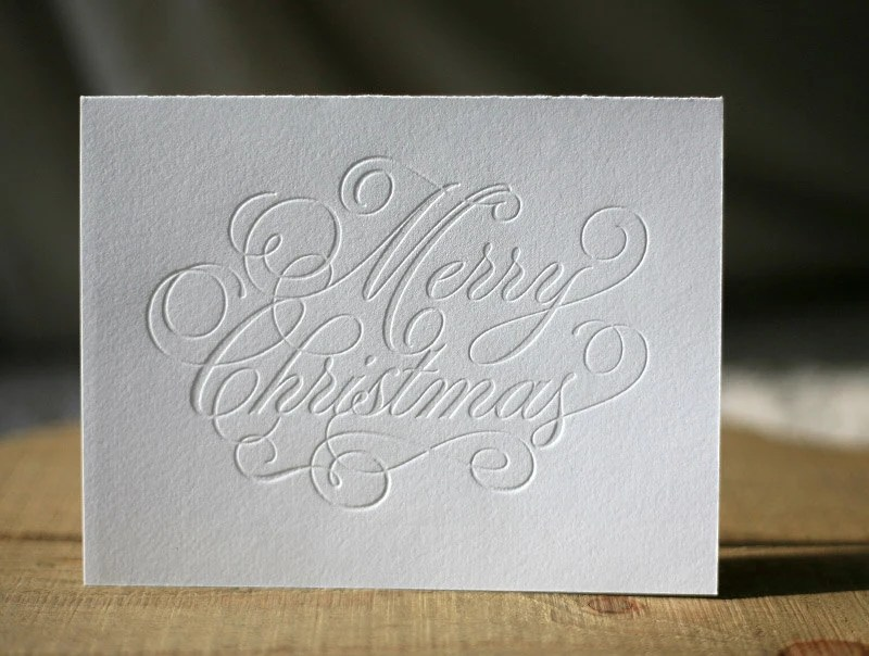 Items Similar To Letterpress Christmas Cards Merry