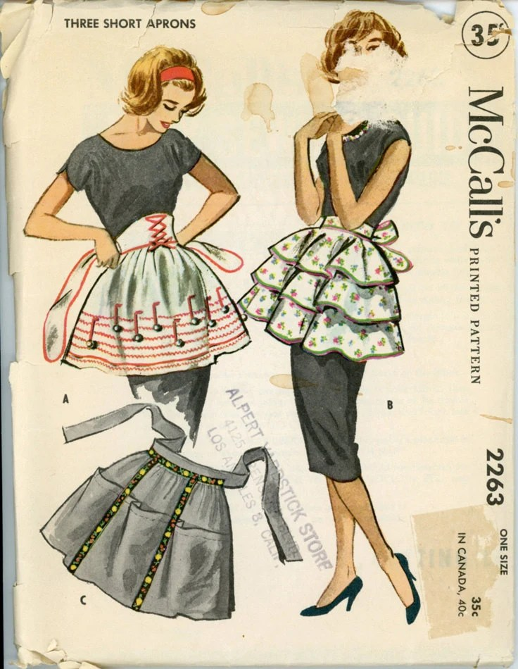 McCalls 2263 Misses 1950s Apron Pattern Half Aprons Ruffled Rick Rack Trimmed and Cobbler Style Womens Vintage Sewing Pattern One Size UNCUT