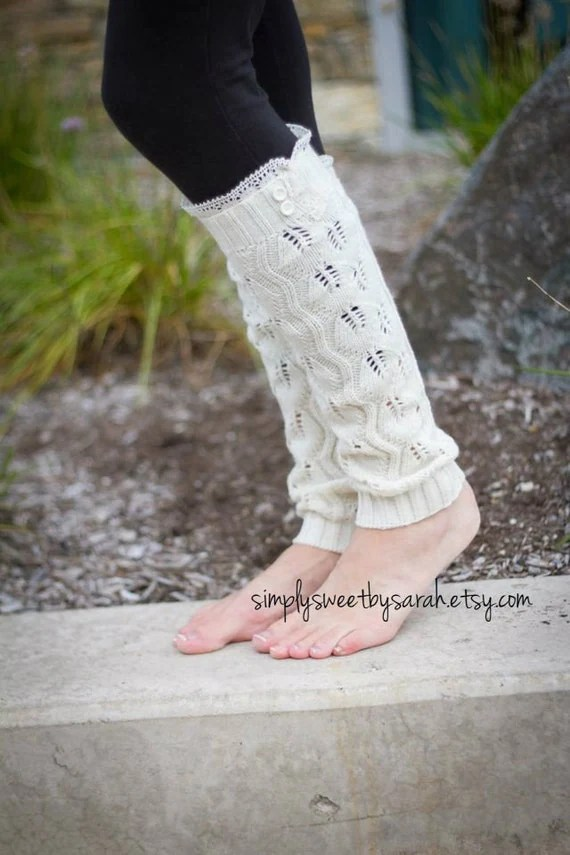 Pointelle Cream - leg warmers with knit lace trim & buttons, legwarmers