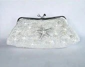 Sparkle-1052 Wedding, Bridal Evening Style Clutch Bag, White Satin with Beautiful Rhinestone Starfish Brooch - PrettybySusan