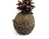 Vintage Miniature Bronze Pineapple Hinged... Box or Incense Burner or Dollhouse Accessory... - SmurfFetes