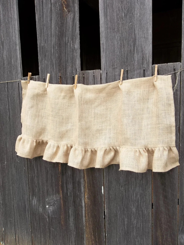 Ruffled Burlap Curtain Custom Sizes Farmhouse Kitchen Valance