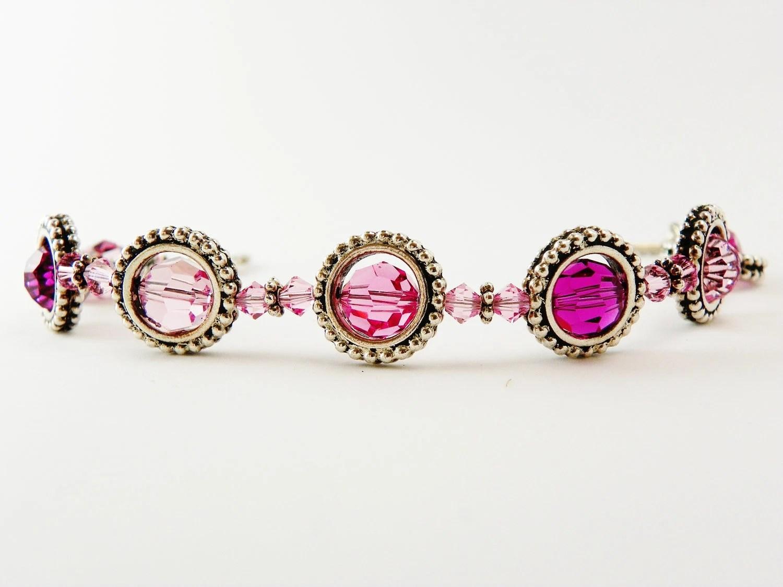 Rose Pink Swarovski Crystal Bracelet - JanMarieArts