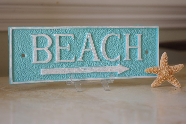 Coastal Decor Cast Iron Rectangle Beach Sign Wall Decor PICK