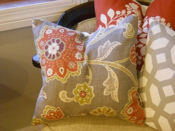 Designer Linen Large Scale Botanical Print Fabric Throw Pillow