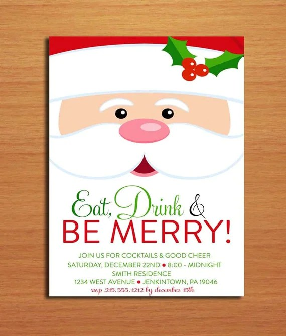 Santa Face Customized Printable Christmas Party Invitations