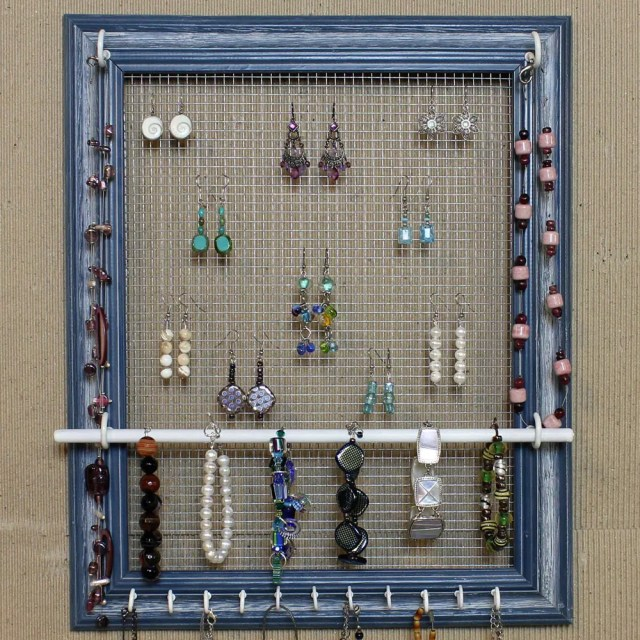 Jewelry Organizer Display Blue Picture Frame by HedcraftFineArt