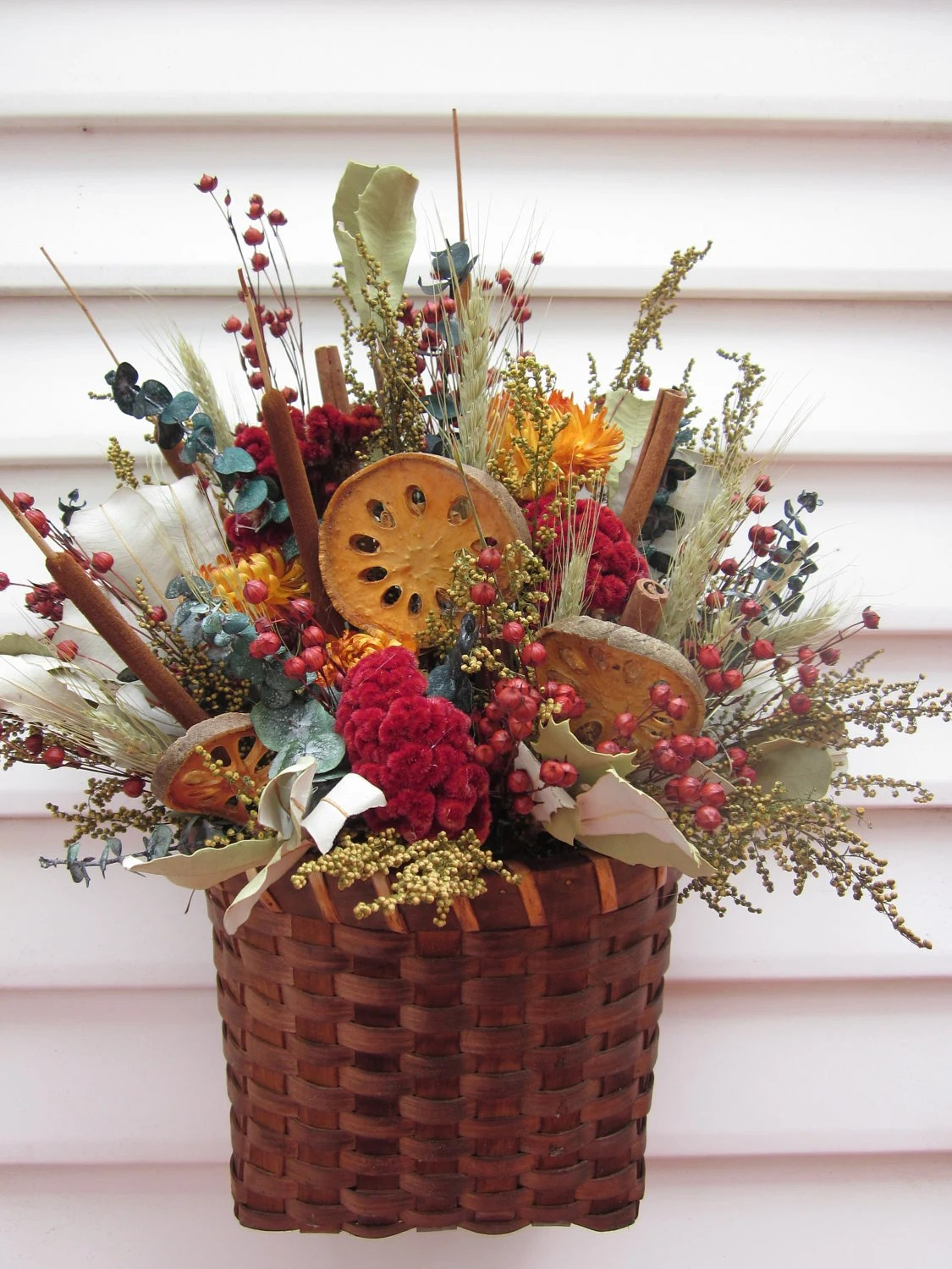 Wall Decor Basket Dried Flower Arrangement With by ... on Decorative Wall Sconces For Flowers Arrangements id=24458
