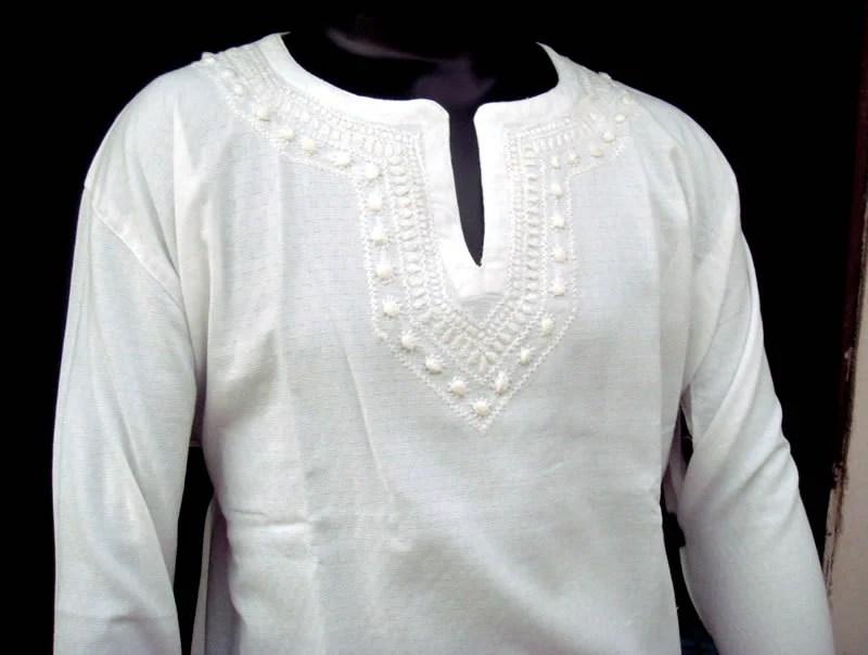 Mens Handmade White Kurta Shirt Tunic Top Cotton Chikankaari