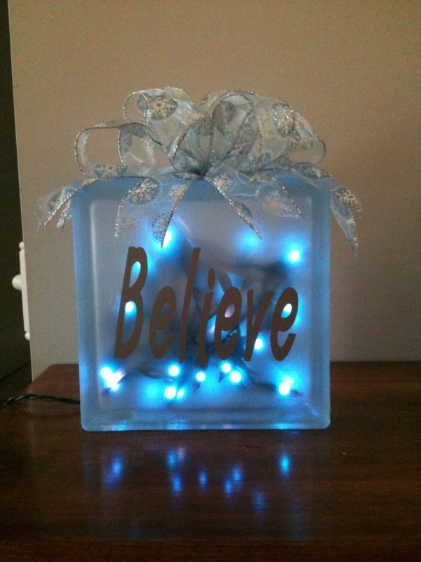 Items similar to Holiday Lighted Glass Block on Etsy