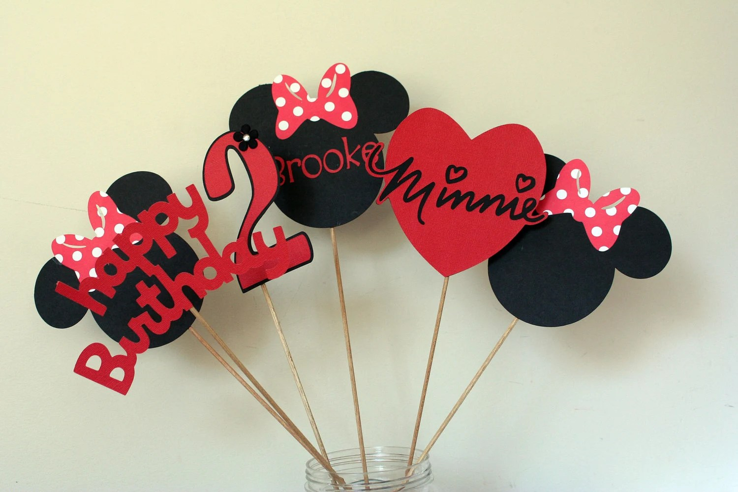 6 Piece Minnie Mouse Centerpiece Red White And Black Minnie