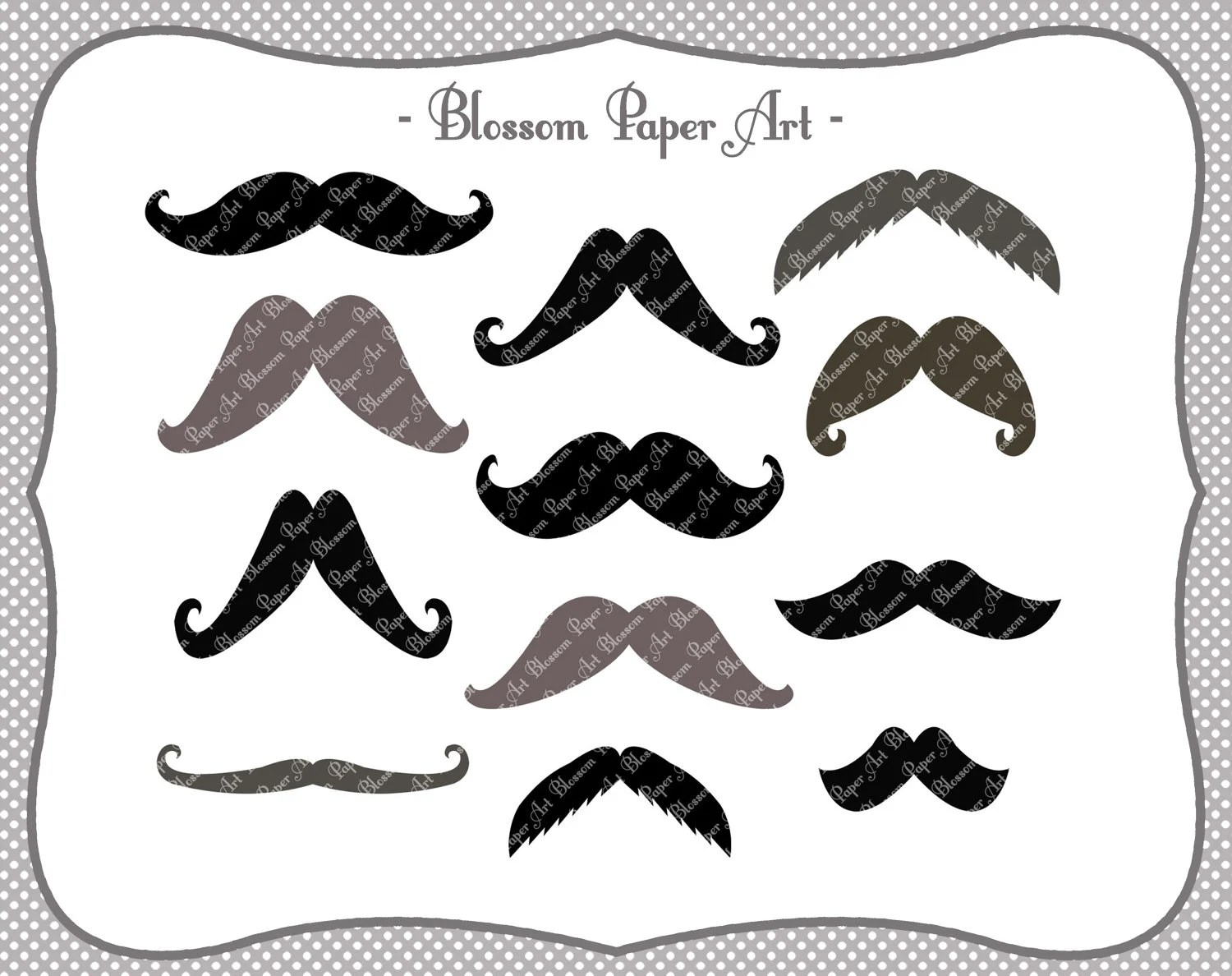 Moustaches Digital Clipart Printable Party Diy Photo