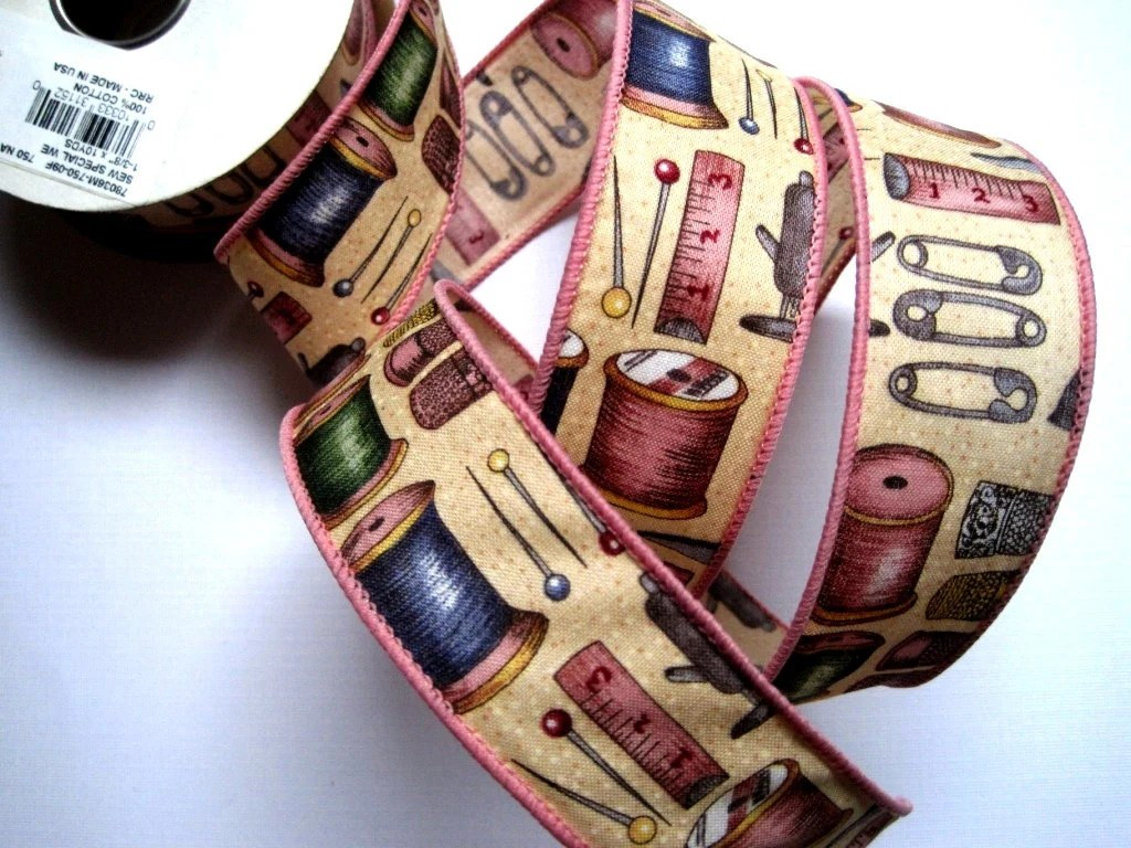 "Sewing Notions Cotton Wired Ribbon Trim, Multi / Pink / Natural 1 3/8"" inch wide, 1 yard For Home Decor, Gift Basket, Scrapbook, Mixed Media - PrimroseLaceRibbon"
