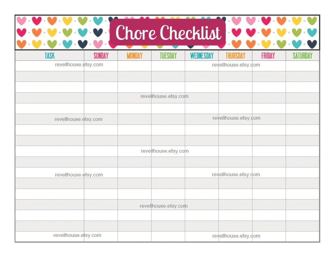 Chore Checklist Rainbow Heart To Do List Task List By