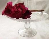 "Enchanting Vintage Glass Cake Stand 9"" 23cm"