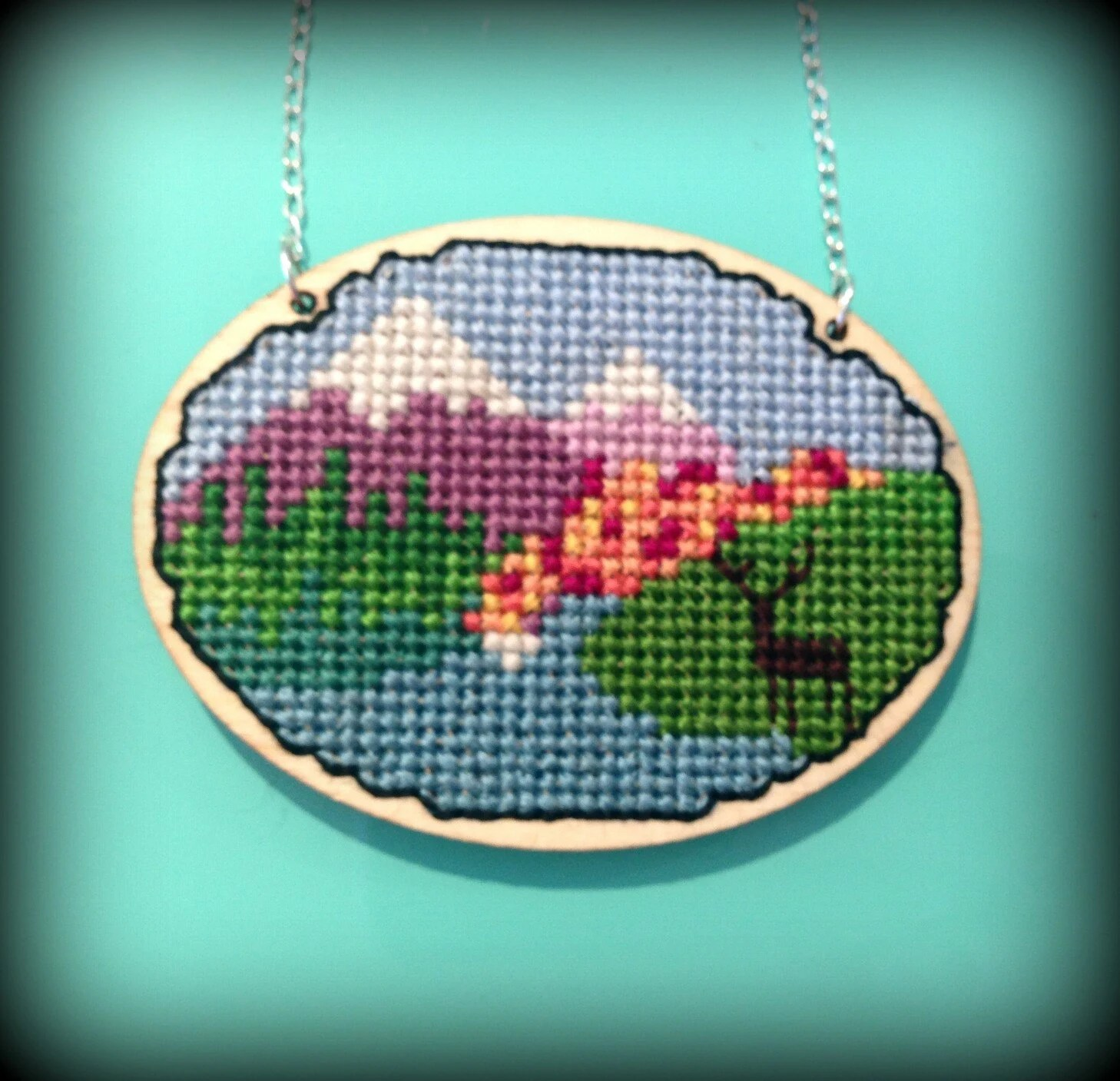 Handmade Woodland Mountain Scene Thread and Wood Cross Stitch Pendant