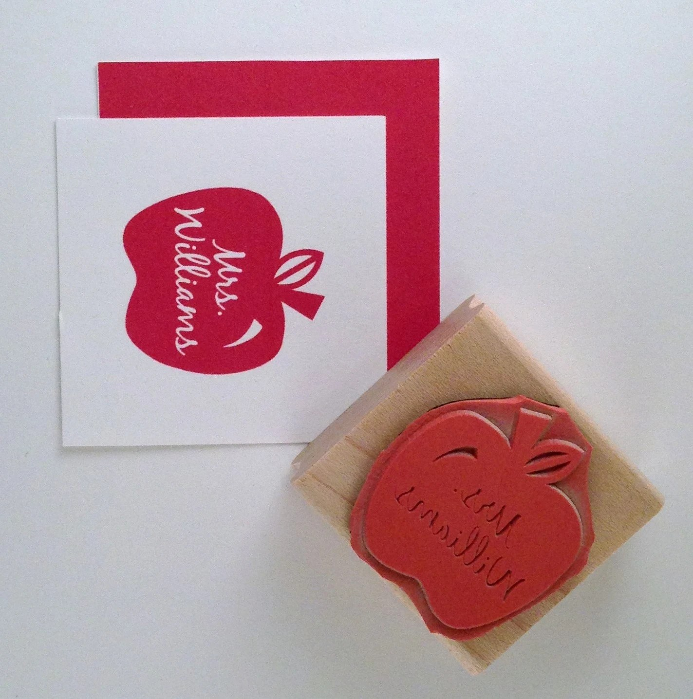 Teacher Apple Personalized Rubber Stamp - cupcaketree