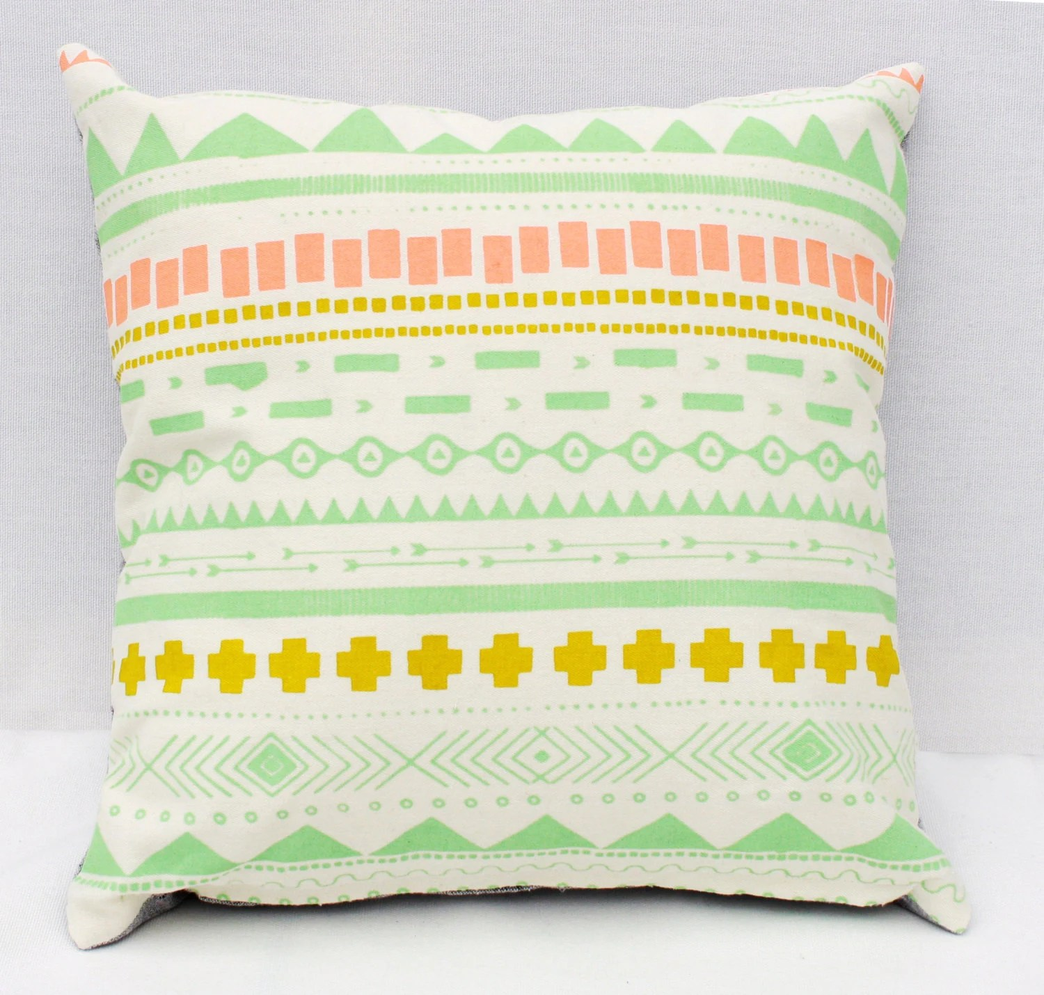 """Geo Print - mint, apricot and chartreuse organic screen printed pillow 12"""" x 12"""""""