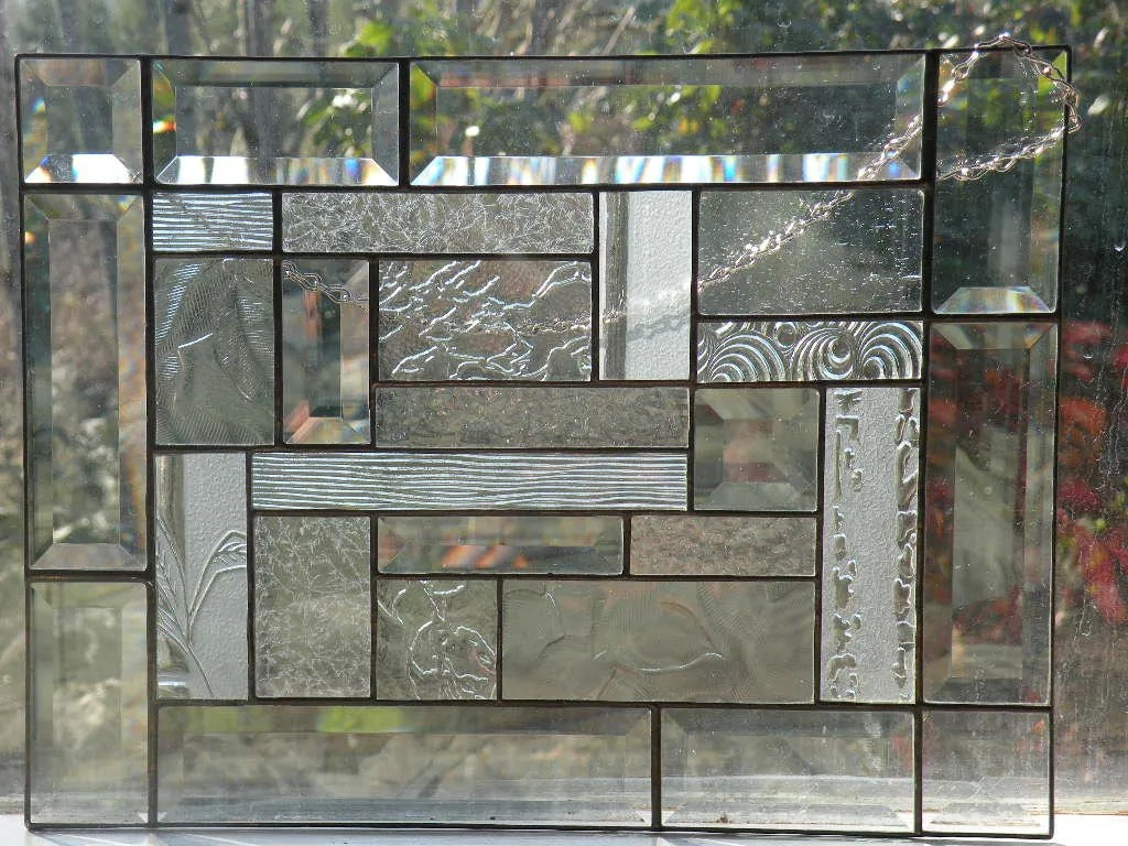 Stained Glass Window Panel Clear Patterned Glass Abstract With