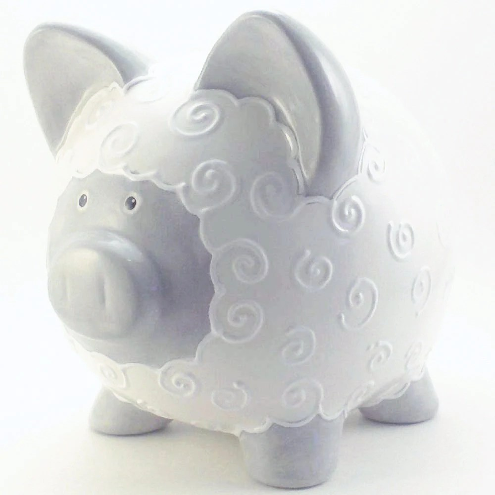 Gray & White Lamb Bank - Lamb Piggy Bank - Personalized Piggy Bank - Farm Theme Piggy Bank - Farm Decor - with hole or NO hole in bottom - ThePigPen