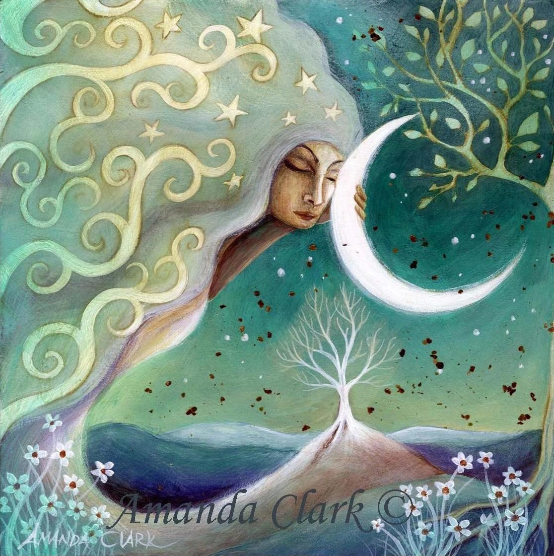 Earth and Moon art print by Amanda Clark - earthangelsarts
