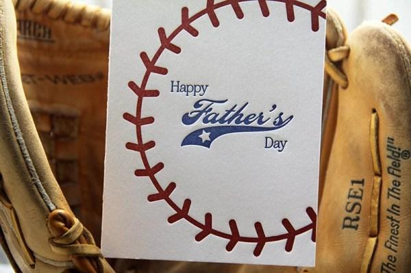 Letterpress Baseball Father's Day Card Sports Stitching